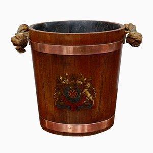 Feuerholz Eimer aus Eiche aus 19. Jahrhundert mit königlichem Wappen