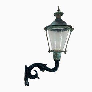 Antike Lampe aus emailliertem Gusseisen & Kupfer im Außengeblasenem Glas