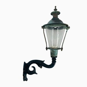 Antique Hand-Blown Glass, Enamelled Cast Iron & Copper Outdoor Light