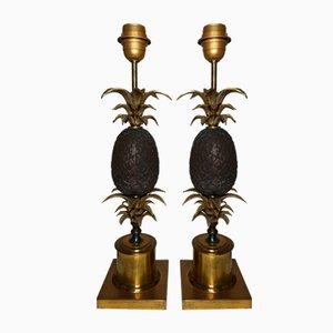 Lampes de Bureau Ananas Vintage en Bronze, Set de 2