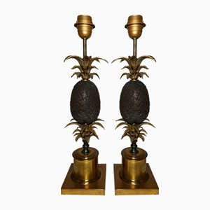Vintage Bronze Pineapple Table Lamps, Set of 2