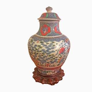 Jarrón chino antiguo con tapa