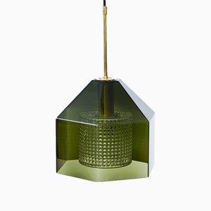 Lampe à Suspension en Verre & Laiton par Carl Fagerlund pour Orrefors, années 60