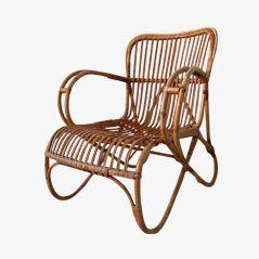 Rattan Lounge Stuhl von Rohé Noordwolde, 1960er