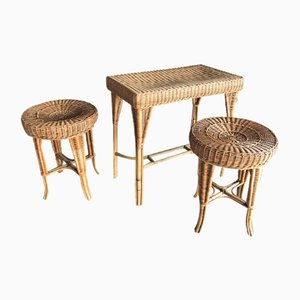 Wicker Stools & Table, 1990s, Set of 3