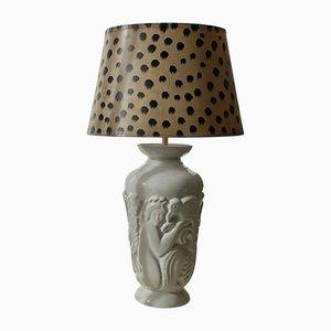 Große Art Deco Porzellan Tischlampe von Gefle, 1930er