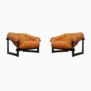 Brazilian Jacaranda & Leather MP-091 Lounge Chairs from Percival Lafer, 1960s, Set of 2