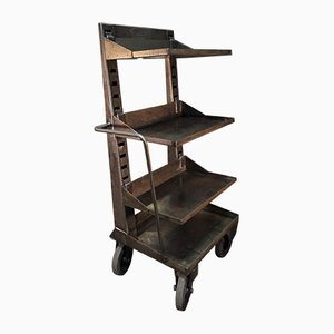 Industrial Metal Shelving Trolley, 1950s