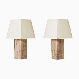 Vintage Travertine & Brass Marine Table Lamps by Dorian Caffot de Fawes, Set of 2