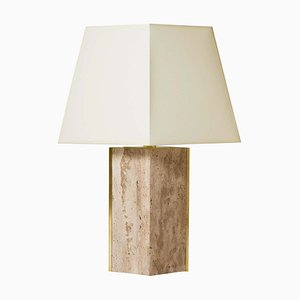 Vintage Travertine & Brass Marine Table Lamp by Dorian Caffot de Fawes