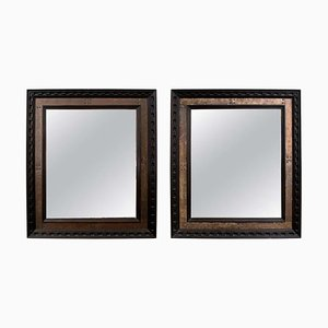 Specchi vintage in ottone ebanizzato, Francia, set di 2