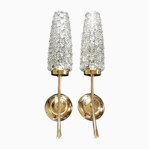 Französische Vergoldete Metall & Glas Wandlampen, 1950er, 2er Set