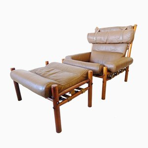 Caramel Leather Inca Chair and Ottoman Set by Arne Norell for Arne Norell AB, 1960s