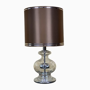 Mid-Century Glass & Chrome Table Lamp