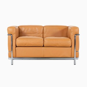 Cognac Leather Model LC2 Sofa by Le Corbusier, Charlotte Perriand for Cassina