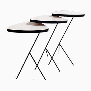 Tavolini ad incastro tripodi vintage, anni '60