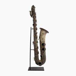 Saxofón decorativo de latón de Pierret, años 60