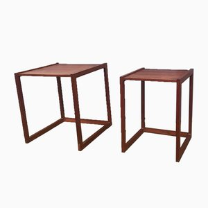 Danish Modern Teak Quadratic Side Tables, 1960s, Set of 2