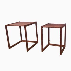 Tables d'Appoint Quadratiques Modernes en Teck, Danemark, années 60, Set de 2