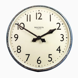 Large British Industrial Railway Clock from Magneta, 1940s