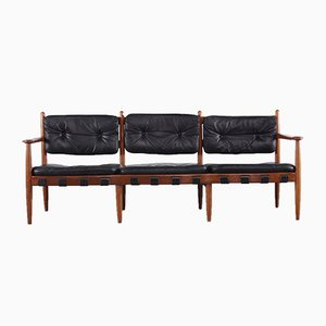 Leather & Teak Sofa by Eric Merthen, 1960s