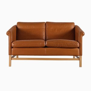 Danish Leather 2-Seat Sofa from Stouby, 1970s