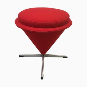 Mid-Century Red Cone Stool by Verner Panton for Rosenthal, 1960s