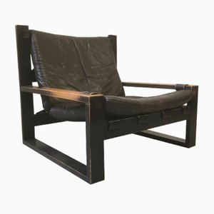 Dutch Modernist Leather and Stained Oak Lounge Chair by Sonja Wasseur, 1970s