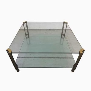 Vintage Hollywood Regency Style Brass & Glass Coffee Table by Peter Ghyczy, 1970s