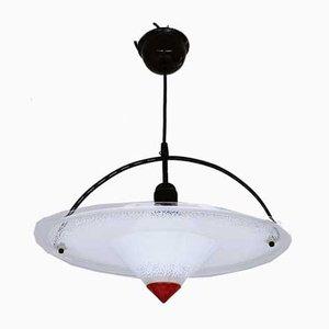 Lámpara colgante alemana posmoderna de acrílico negro y rojo, años 80