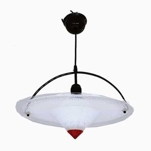 Postmodern German Black and Red Acrylic Pendant Lamp, 1980s