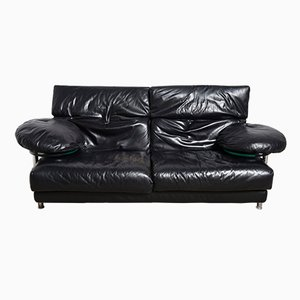 Arca Couch in Black Leather by Paolo Piva for B&B Italia, 1985