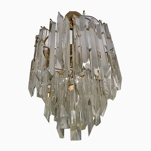 Lámpara de araña de cristal de Murano de Venini, años 80