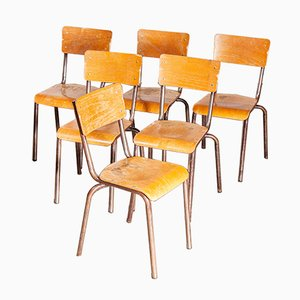 French Metal School Dining Chairs, 1950s, Set of 6
