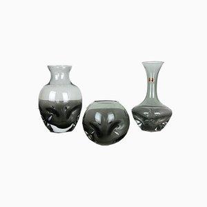 Vases Vintage en Verre Cristal de Friedrich Kristall, Allemagne, Set de 3
