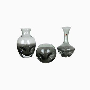 Vintage German Crystal Glass Vases from Friedrich Kristall, Set of 3