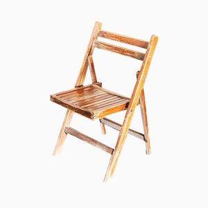 Beech Folding Chairs, 1960s, Set of 12