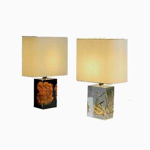 Französische Plexiglas Tischlampen von Pierre Giraudon, 1970er, 2er Set