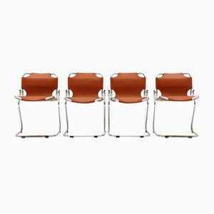Leather & Chrome Dining Chairs by Isao Hosoe for Rima, 1970s, Set of 4
