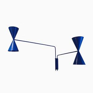 Blaue Pantone Bat Light Lampe mit 2 Armen von Juanma Lizana