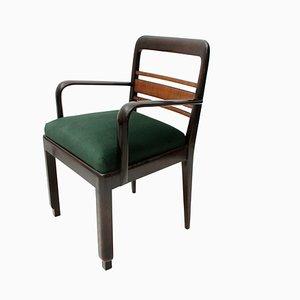 Italienische Holz & Samt Esszimmerstühle, 1930er, 8er Set