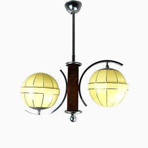 Mid-Century Chrome & Wood Ceiling Lamp