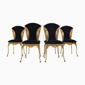 Chaises de Salle à Manger Style Hollywood Regency Cobra Doré Vintage, années 70, Set de 6