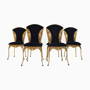 Vintage Hollywood Regency Style Gilded Cobra Dining Chairs, 1970s, Set of 6
