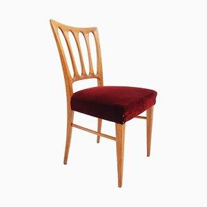 Esszimmerstühle aus Esche & Samt von Paolo Buffa für ISA Bergamo, 1950er, 6er Set