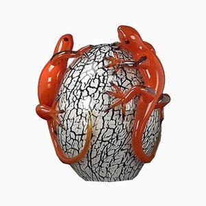 Escultura huevo de cristal con salamanquesa de VGnewtrend