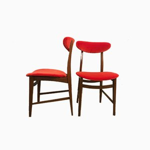 Wood & Velvet Dining Chairs, 1950s, Set of 6