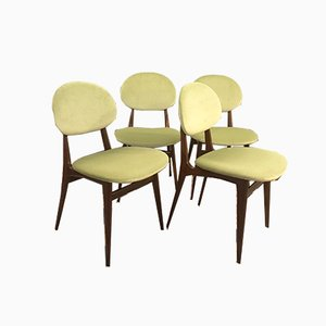 Mahogany & Velvet Dining Chairs, 1950s, Set of 4