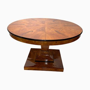 Antique Biedermeier Ash Veneer Dining Table, 1825