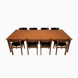 Conjunto de mesa de comedor y sillas danesas de Cado, años 60. Juego de 9